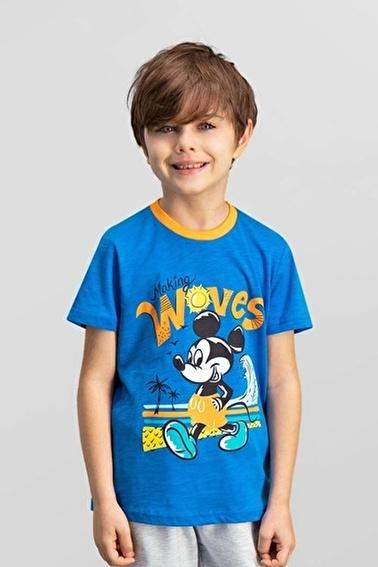 Mickey Mouse Lisanslı Erkek Çocuk T-Shirt Mavi